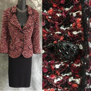 ST JOHN COUTURE knit red pink black skirt suit 14